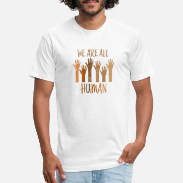 We Are All Human - Unisex Poly Cotton T-Shirt