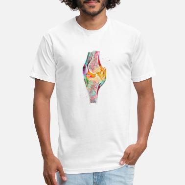 Human Anatomy Knee bone, watercolor print, human anatomy knee, p - Fitted Cotton/Poly T-Shirt by Next Level