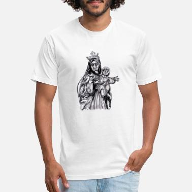 mother Mary with Jesus sketch illustration - Unisex Poly Cotton T-Shirt