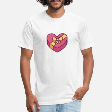 Bow Box Heart Shaped Gift Box With Bow - Unisex Poly Cotton T-Shirt