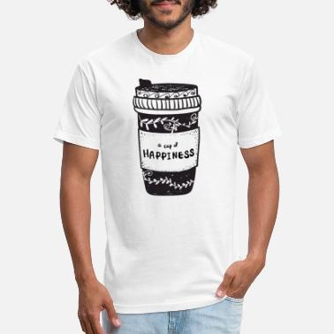 coffee cup take away with cup of happiness, doodle - Unisex Poly Cotton T-Shirt