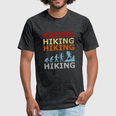 Retro Vintage Style Evolution Hiking Hike Wander - Fitted Cotton/Poly T-Shirt by Next Level