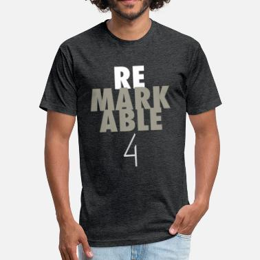 Remarkable Remarkable White/Gray on Drk Gray - Fitted Cotton/Poly T-Shirt by Next Level