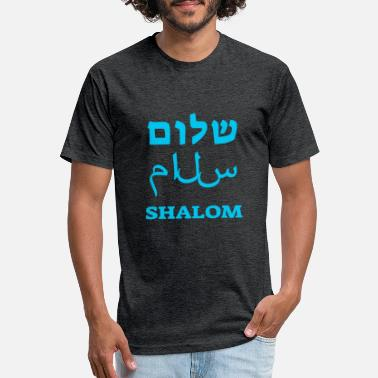 Hebräisch Shalom in 3 Languages - Unisex Poly Cotton T-Shirt