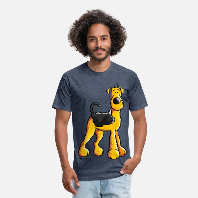 Airedale Cartoon T-Shirts - Sweet Airedale Terrier - Unisex Poly Cotton T-Shirt heather navy