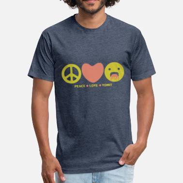 Anti Hippie Love Peace love vomit anti hippie smiley emoticon - Fitted Cotton/Poly T-Shirt by Next Level