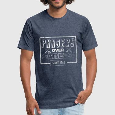 Phasers Over Sabers (Stressed) - Fitted Cotton/Poly T-Shirt by Next Level