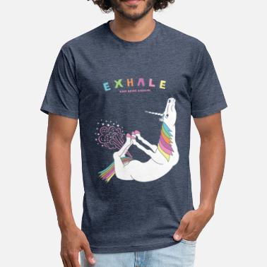 Bow Pose Bow Pose Unicorn Exhale - Fitted Cotton/Poly T-Shirt by Next Level