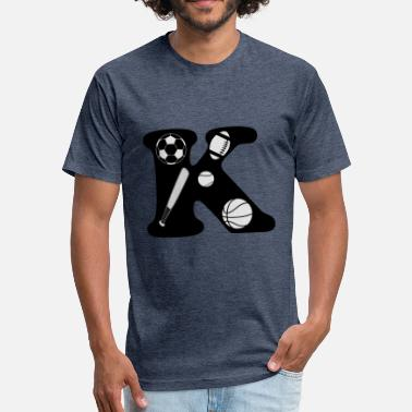 Letter K Baseball initial K - Fitted Cotton/Poly T-Shirt by Next Level