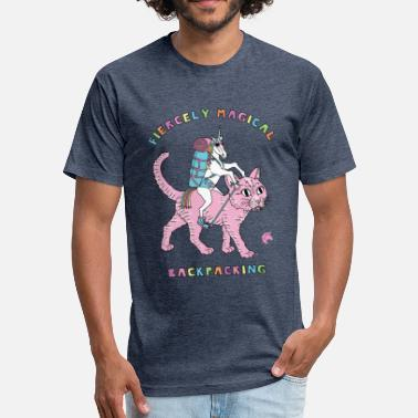 Backpacker Unicorn Fiercely Magica Backpacking Unicorn Riding Cat - Fitted Cotton/Poly T-Shirt by Next Level