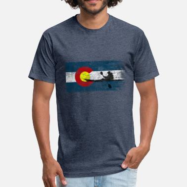 Kayaking Colorado Flag Kayak Paddling Kayaking Paddle Gift - Fitted Cotton/Poly T-Shirt by Next Level