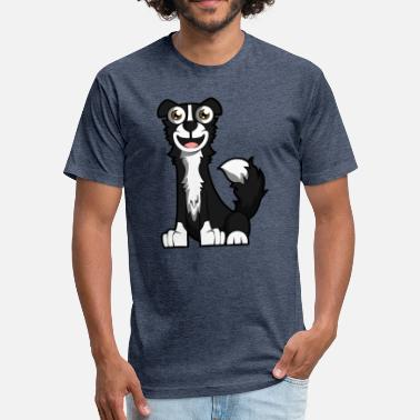 Sedentary Laughing Border Collie - Fitted Cotton/Poly T-Shirt by Next Level