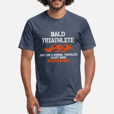 Triathlon Bald Triathlete - Fitted Cotton/Poly T-Shirt by Next Level