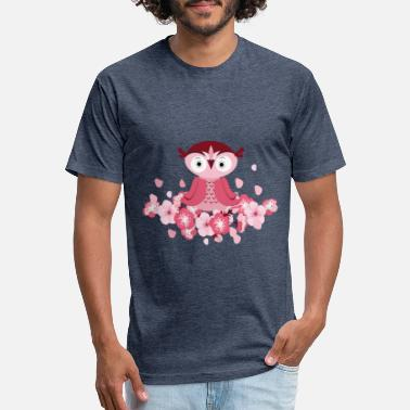 Peach Blossom Pink Flowers With A Cute Owl - Unisex Poly Cotton T-Shirt