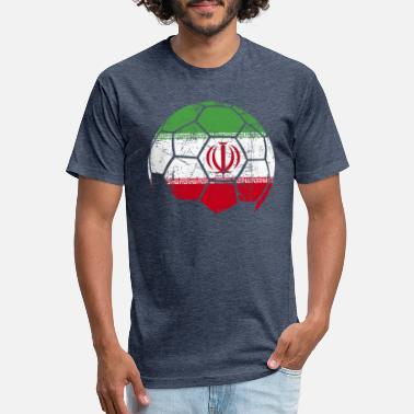 Iran Soccer Jersey Iran Soccer Football Ball - Fitted Cotton/Poly T-Shirt by Next Level