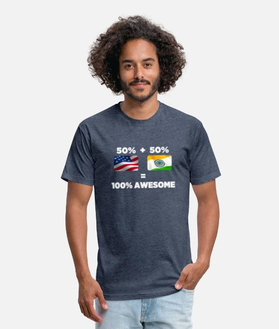 Ahmedabad T-Shirts - Half Indian Half American Totally Awesome - Unisex Poly Cotton T-Shirt heather navy