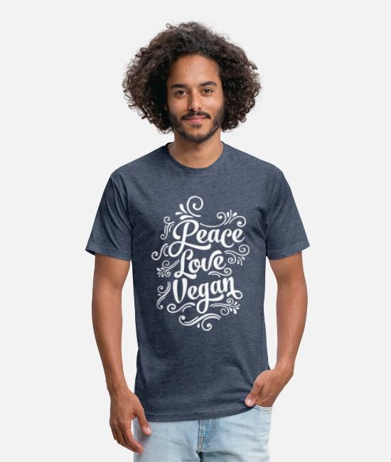 Animals Love T-Shirts - Love Peace Vegan - Unisex Poly Cotton T-Shirt heather navy