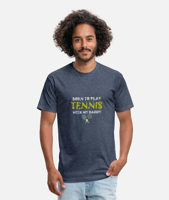 Tennis T-Shirts - ennis Gifts,Born To Play Tennis With My Daddy - Unisex Poly Cotton T-Shirt heather navy