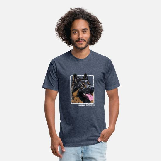 Dog T-Shirts - Dogs - German Shepherd - Unisex Poly Cotton T-Shirt heather navy