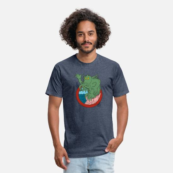 New Zealand T-Shirts - Cthulhu New - Unisex Poly Cotton T-Shirt heather navy