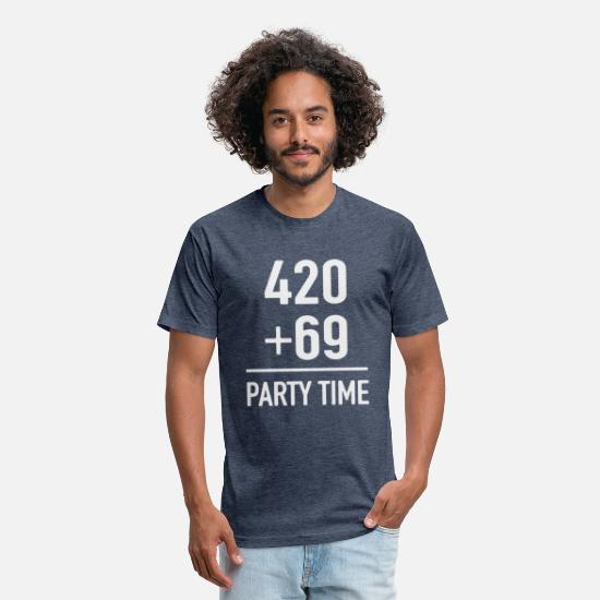 Funny T-Shirts - 420 + 69 party time - Unisex Poly Cotton T-Shirt heather navy