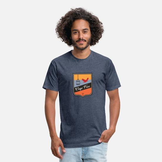 Camping T-Shirts - Cage Free - Unisex Poly Cotton T-Shirt heather navy