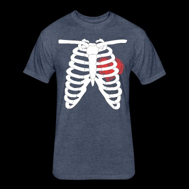 Rib cage skeleton with a Big Heart! - Fitted Cotton/Poly T-Shirt by Next Level