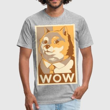 Doge Meme doge wow - Fitted Cotton/Poly T-Shirt by Next Level