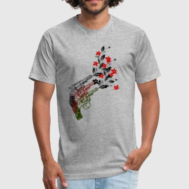 Guns Ideas Gun with flower, no guns tshirt gift idea for anti - Fitted Cotton/Poly T-Shirt by Next Level