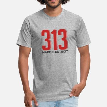 313 Detroit Love 313 Made In Detroit Downtown - Fitted Cotton/Poly T-Shirt by Next Level