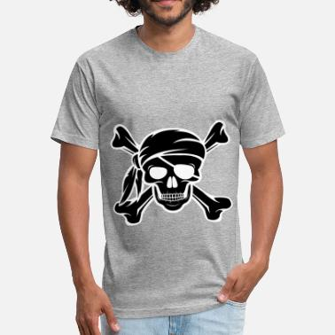 Womens Pirate Jolly Roger Pirate Shirt Distressed Pirates Tee - Fitted Cotton/Poly T-Shirt by Next Level