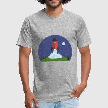 Night Rocket Launcher - Fitted Cotton/Poly T-Shirt by Next Level