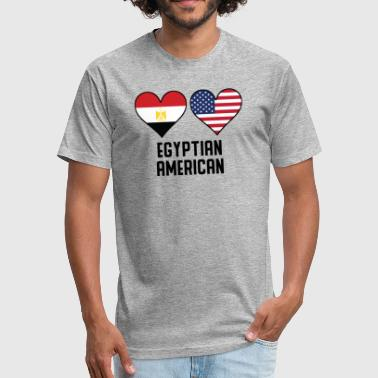 Egyptian American Heart Flags - Fitted Cotton/Poly T-Shirt by Next Level
