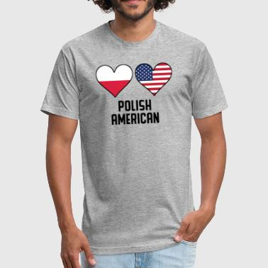 Polish American Flag Polish American Heart Flags - Fitted Cotton/Poly T-Shirt by Next Level