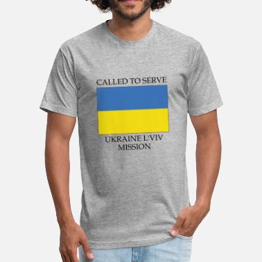 Lviv Ukraine L viv LDS Mission Called to Serve Flag - Fitted Cotton/Poly T-Shirt by Next Level