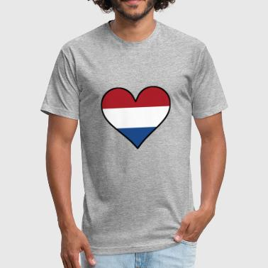 Dutch Flag Heart - Fitted Cotton/Poly T-Shirt by Next Level