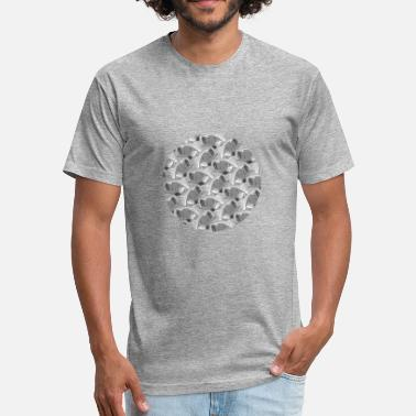 Hook Pattern fish pattern circle fish - Fitted Cotton/Poly T-Shirt by Next Level