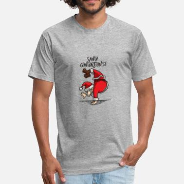 Contortionist Santa Contortionist Christmas Gymnast Handstand - Fitted Cotton/Poly T-Shirt by Next Level