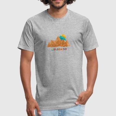 Colorado Mountains T Shirt - Low Poly Retro Abstract peaks Art - Fitted Cotton/Poly T-Shirt by Next Level