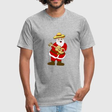 Santa With Guitar SANTA CHRISTMAS FUNNY GIFT MEXICAN GUITAR BIRTHDAY - Fitted Cotton/Poly T-Shirt by Next Level