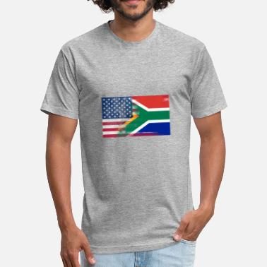 Half South African South African American Half South Africa Half Flag - Fitted Cotton/Poly T-Shirt by Next Level