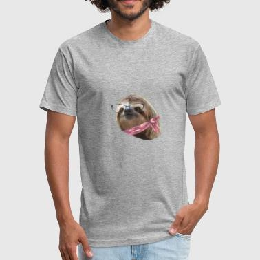 Sloth Black Glasses Red Scarf Sloths In Clothes - Fitted Cotton/Poly T-Shirt by Next Level