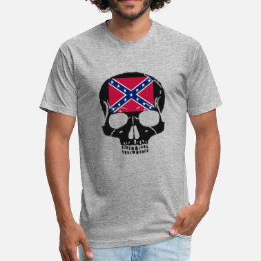 Confederate Skull Confederate Rebel Flag Skull T Shirt - Fitted Cotton/Poly T-Shirt by Next Level