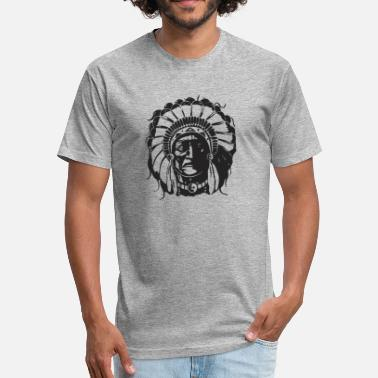 Indian Bull American Native Head - Fitted Cotton/Poly T-Shirt by Next Level