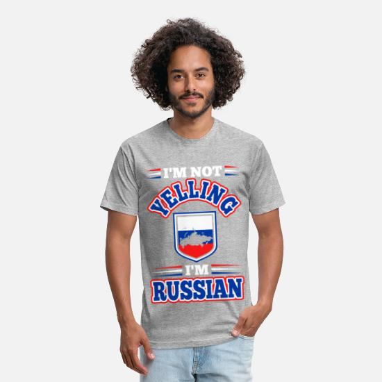 Russian T-Shirts - Im Not Yelling Im Russian - Unisex Poly Cotton T-Shirt heather gray