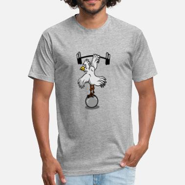 Weight Lifting Geek Chicken Lifting Weights - Fitted Cotton/Poly T-Shirt by Next Level