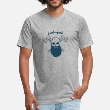 Beard Lumberjack Lumberjack Skull With Beard And Crossed Axes - Fitted Cotton/Poly T-Shirt by Next Level