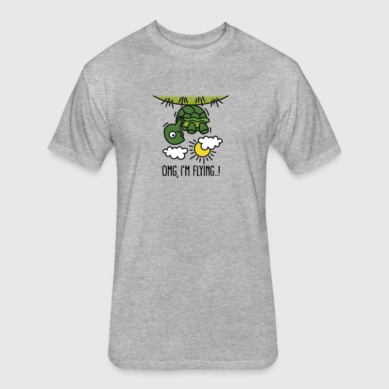 OMG, I'm flying! Turtle - Fitted Cotton/Poly T-Shirt by Next Level
