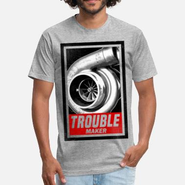 Car Engine Design BOOST TROUBLE MAKER  - Fitted Cotton/Poly T-Shirt by Next Level