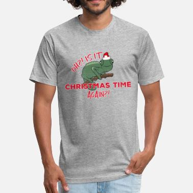 Reptiles Ugly Christmas Funny Christmas Chameleon Lizard Santa Hat Gift - Fitted Cotton/Poly T-Shirt by Next Level